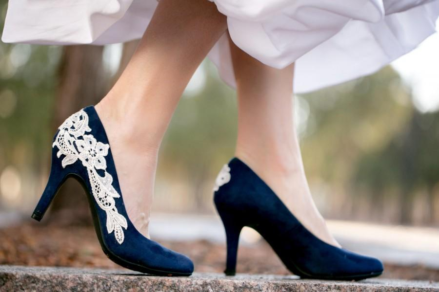 Amazing Navy Blue Wedding Shoes, Bridal Shoes, Low Wedding Heels, Blue Pumps, Low  Heels, Bridal Heels,Something Blue,Navy Blue Heels With Ivory Lace Great Ideas