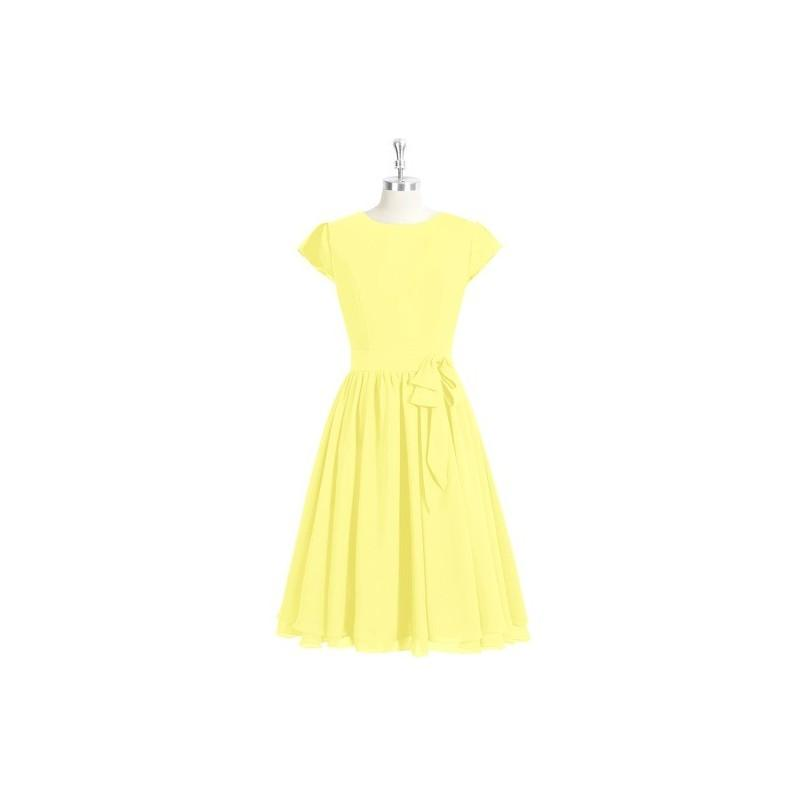 25d8ad7130 Lemon Azazie Ingrid - Back Zip Scoop Chiffon Knee Length Dress - Charming  Bridesmaids Store