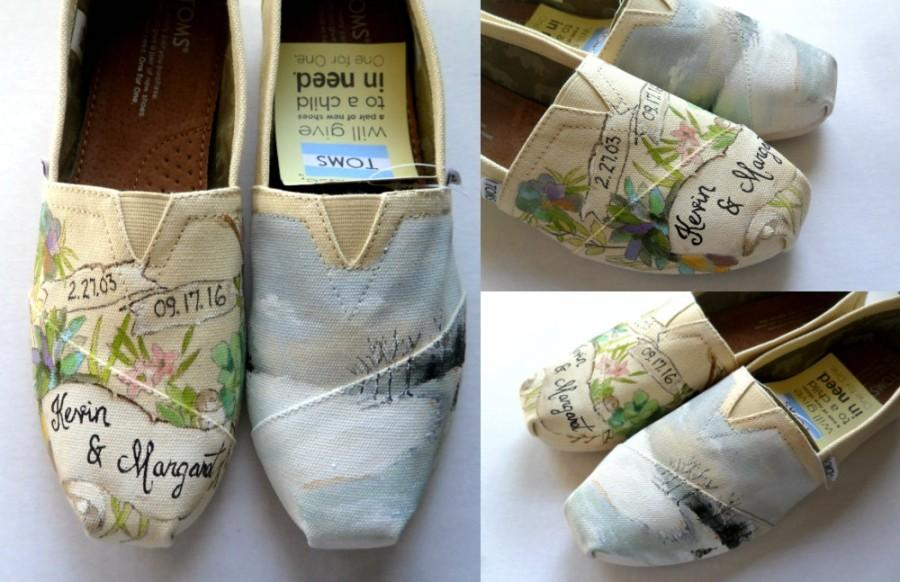 Bride S Love Story Wedding Shoes Unique Hand Painted Toms Custom Flats Gift For The