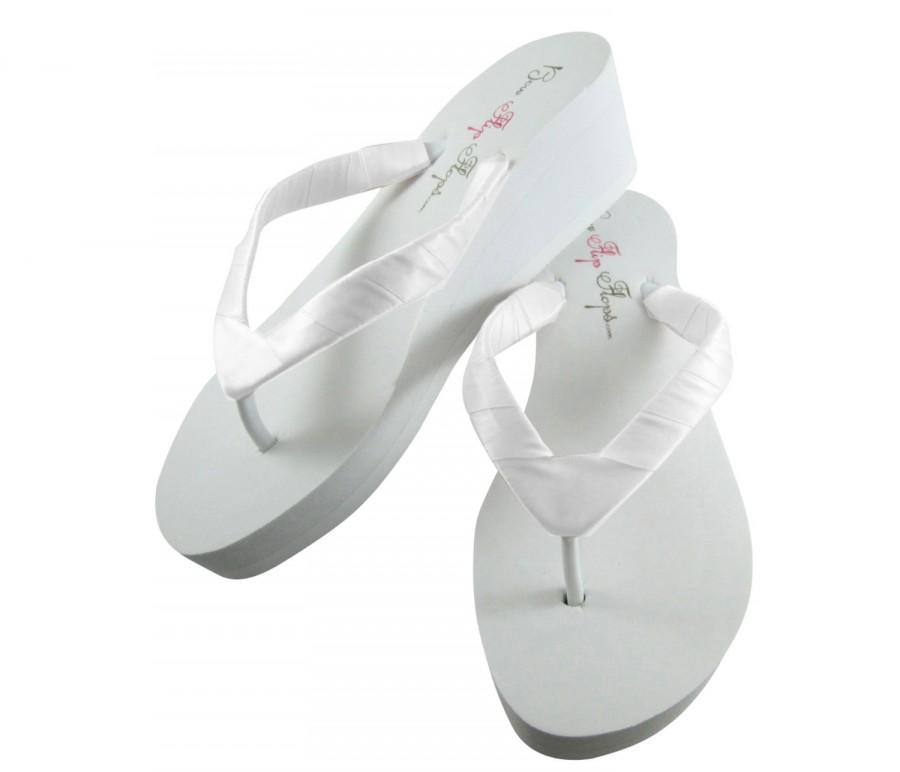 3feec144042c Bridal Flip Flops  Wedding  Bridal Sandals  Wedges  Platform  Heel  Bride  Flip Flops  Ivory Flip Flops  white. Plain. custom. wedding shoes