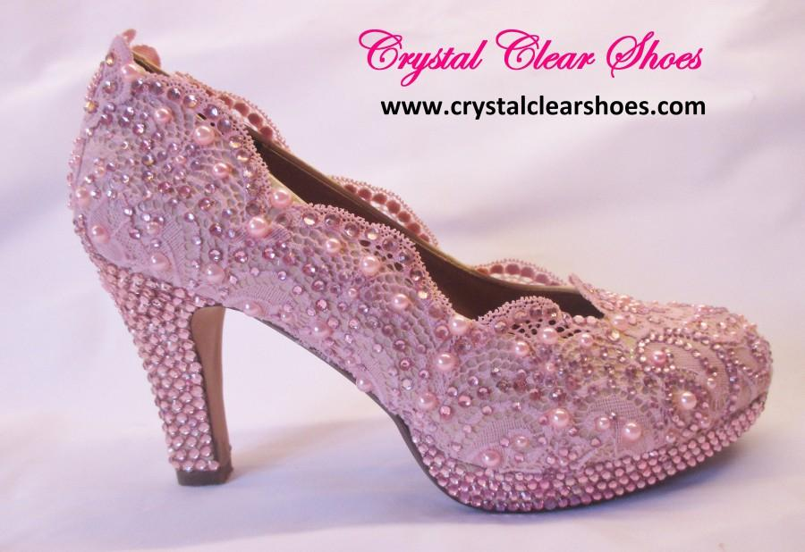 Boda - Pink Lace Wedding Shoes, Party Shoes,Special Occasion.