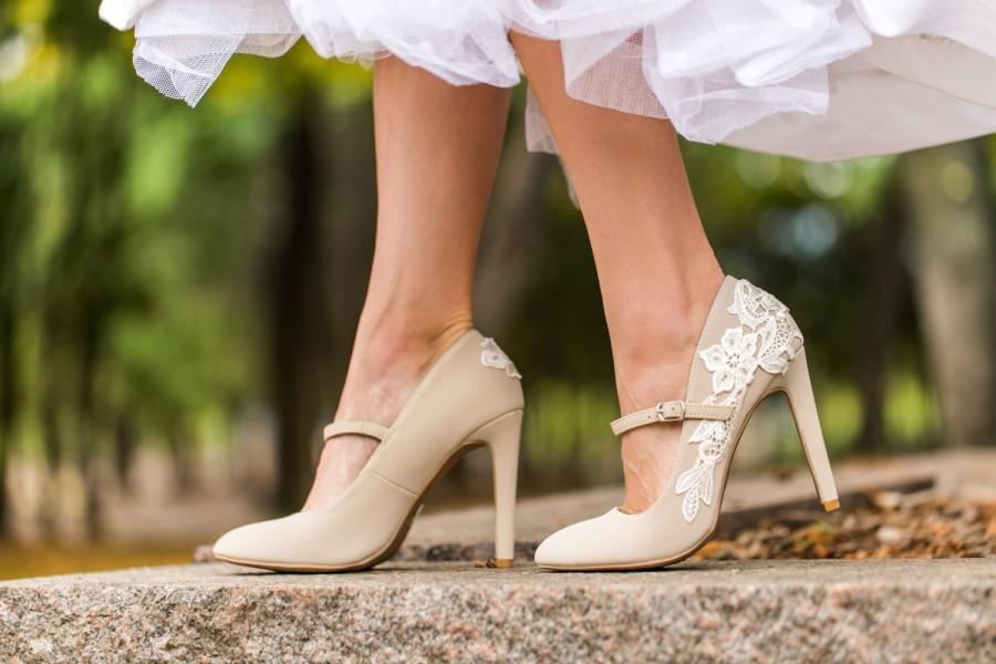 Wedding - Sale - Wedding Shoes - Beige Bridal, Bridal Shoe, Mary Jane Heels, Wedding Heels, Beige Heels, Nude, Bride, Bridesmaid Shoes with Ivory Lace