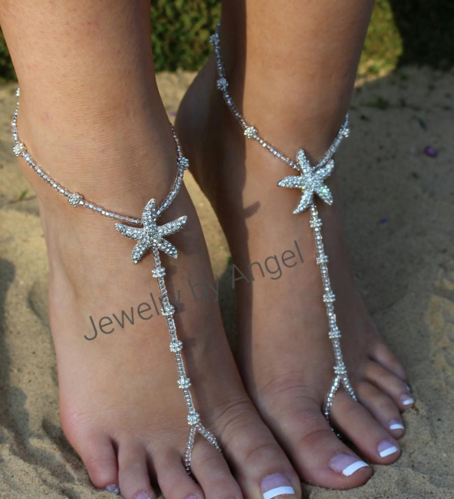 Wedding - Rhinestone Starfish Foot Jewelry Wedding Starfish Barefoot Sandal Soleless Shoes  Bridesmaid Gift Starfish Jewelry Flower Girl