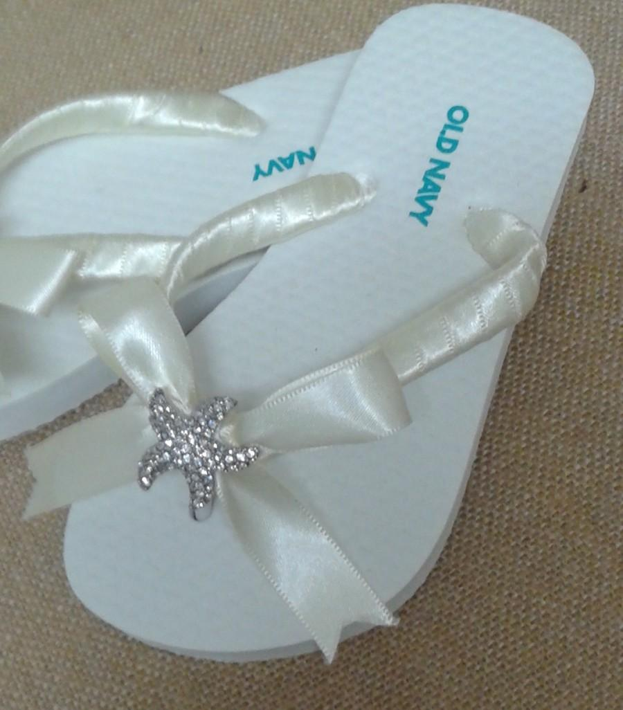 Nozze - Rhinestone Starfish Flower Girl Beach Wedding Flip Flops, Starfish Flip Flops, Wedding Flip Flops