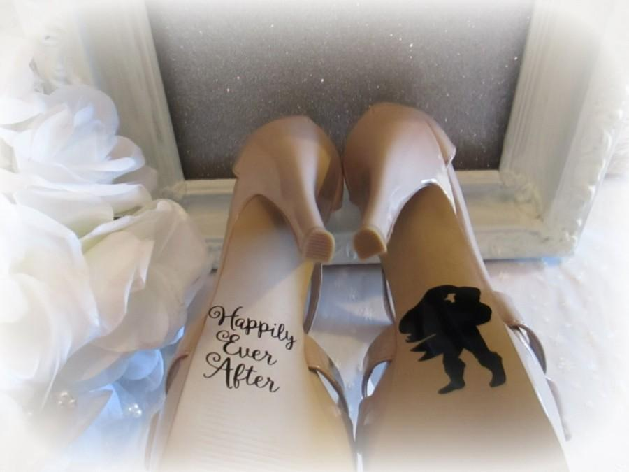 Hochzeit - Wedding Shoe Decals ~ Photography Prop ~ Bride and Groom Wedding Decorations ~  Stickers Ariel and Eric  ~ The Little Mermaid