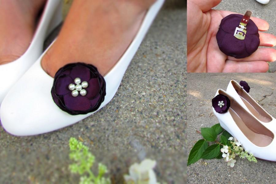 Wedding - Eggplant Deep Plum Bridesmaid Shoe Accessories, Floral Shoe Clip on Flower Decorative Wedding Shoes, Ivory Pearls, Maid of Honor Gift Matron