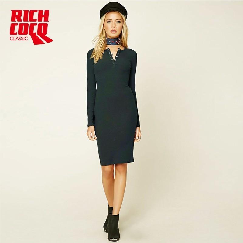 Düğün - Vogue Slimming Sheath V-neck Jersey 9/10 Sleeves Dress Basics - Bonny YZOZO Boutique Store