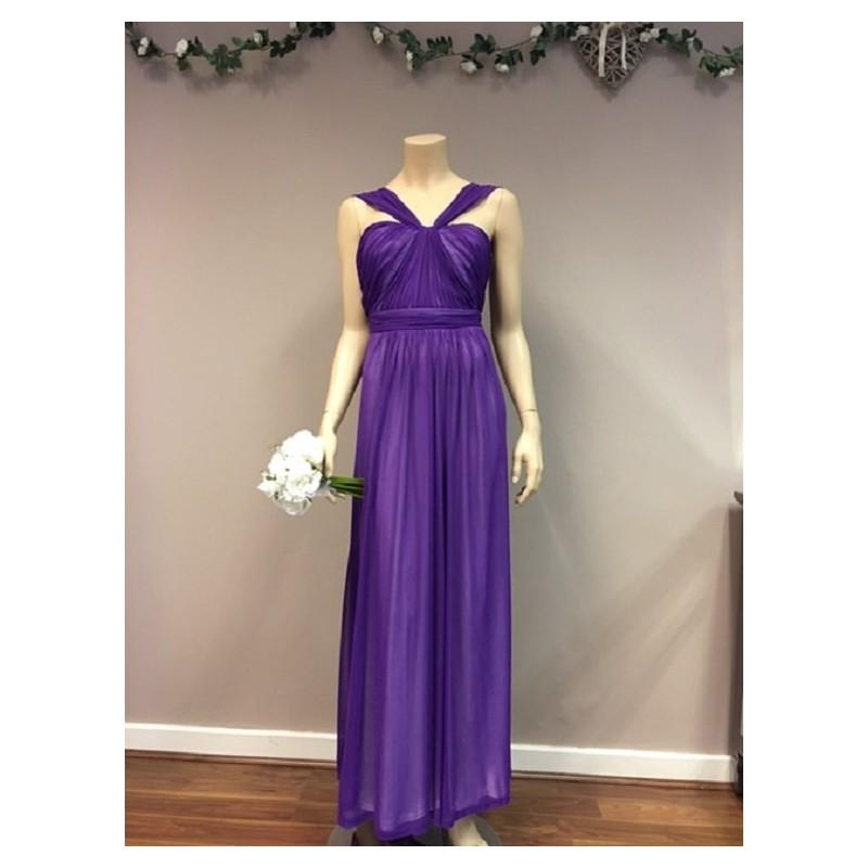 Свадьба - Purple Chiffon Bridesmaid Dress Wedding Party Formal Wear Halter Neck Prom Gown Elegant Wear Mother of the bride - Hand-made Beautiful Dresses