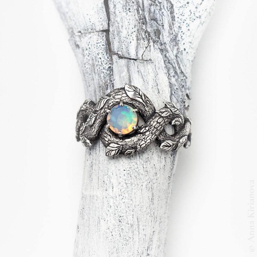 Mariage - Unique Engagement Ring, Opal Promise Ring for Her, Opal Dragon Ring, Fantasy, Nature Inspired, Rainbow Gem Stone, Sterling Silver
