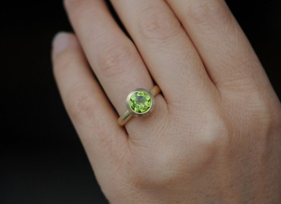 Mariage - 18K Gold Peridot Ring - Peridot Solitaire Engagement Ring - Green Gemstone Gold Ring - Peridot Engagement Ring - Made to Order FREE SHIPPING