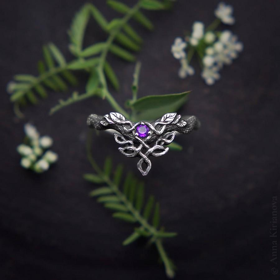 "Mariage - Medieval Ring, Celtic Ring, Wedding Band, Engagement Ring, Silver V Shape Ring, Sterling Elven Jewelry, ""Woodland Dragon"" Ring with Amethyst"