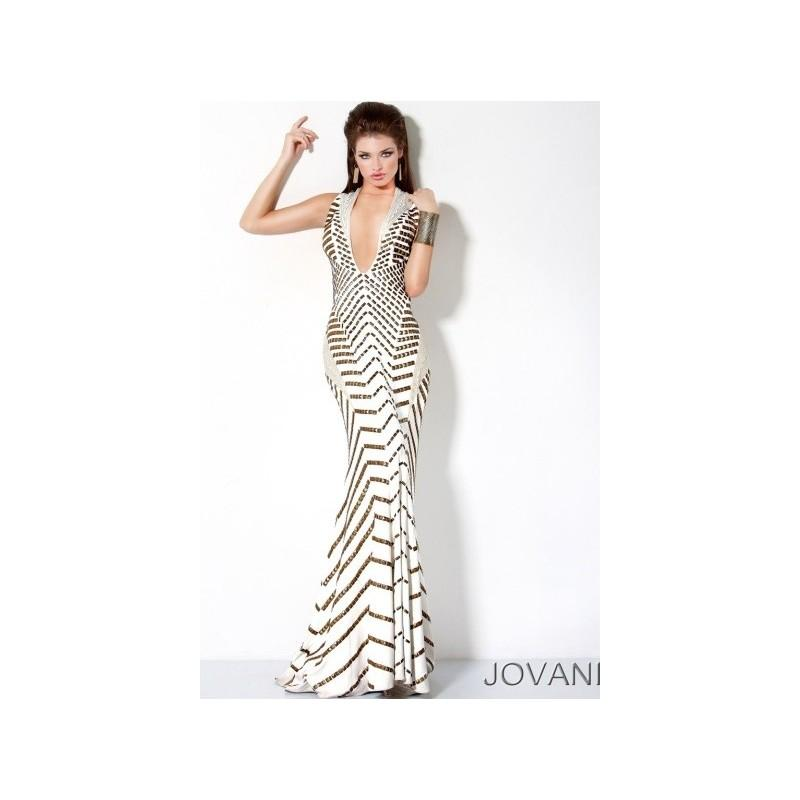 Wedding - Jovani Gold Studded Mermaid Prom Dress with Deep V Neck 9420 - Brand Prom Dresses