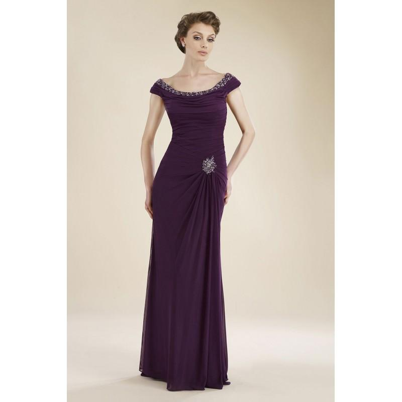 Mariage - Sheath-Column Off The Shoulder Floor Length English Net Dark Purple Sleeveless Zipper Mother Of The Bride Dress Beading Pleating - Top Designer Wedding Online-Shop