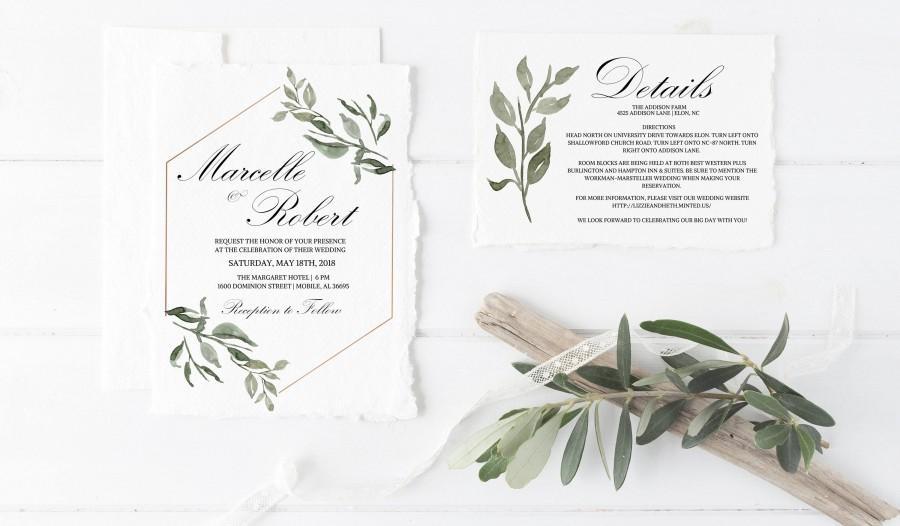 Düğün - Greenery Wedding Invitation, Calligraphy Wedding Invitation Template, Printable Wedding Invitation,Printable Template,Calligraphy Invitation
