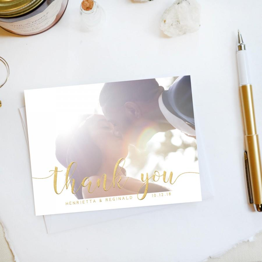 Düğün - Wedding Thank You Card, Custom Photo Wedding Thank You Cards Faux Gold Foil Wedding Thank You Cards Vintage Gold Foil Wedding Cards Amanda2