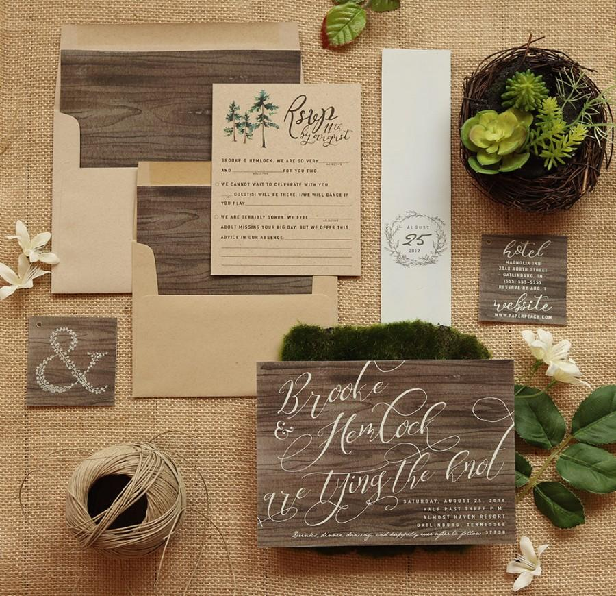 Wedding - Rustic Wedding Invitation Set - Wood & Kraft Wedding Invite Suite for a Country Barn Wedding - Printable - Printed