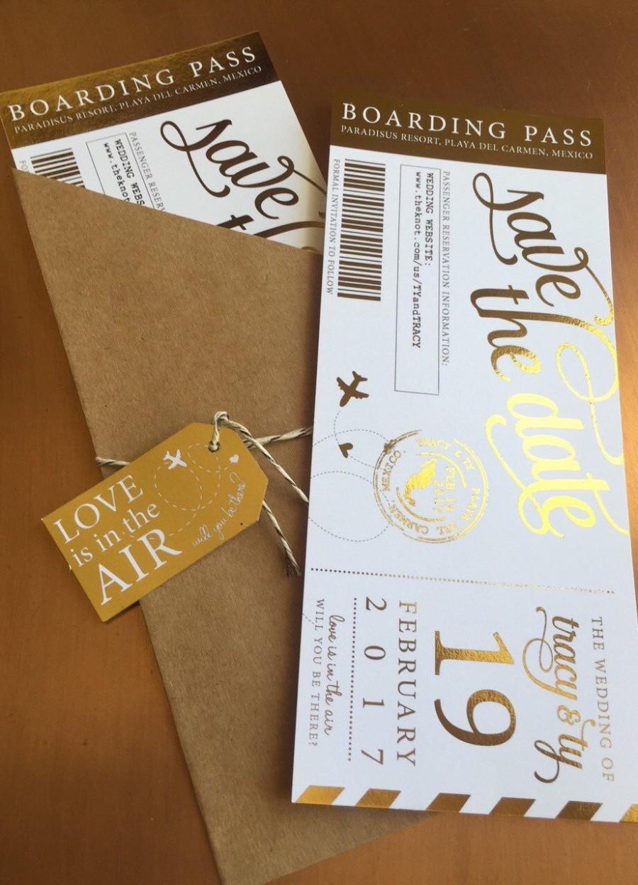 Düğün - Shimmering Metallic Custom Boarding Pass Save the Dates- Several Foil Colors!