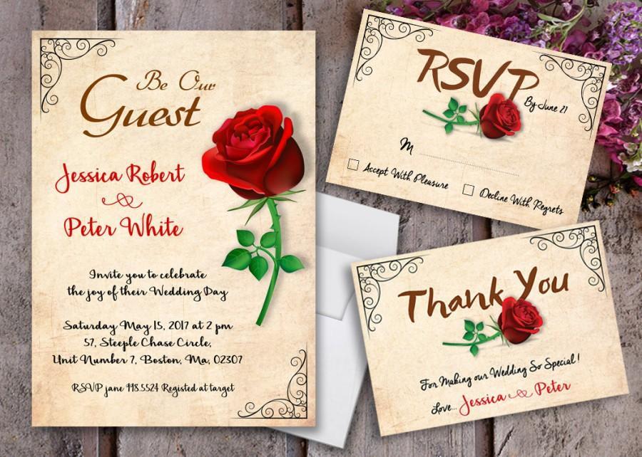 Wedding - Beauty and The Beast Wedding Invitations - Beauty and The Beast Invitations - Vintage Invitations - Vintage Wedding - Beauty and The Beast