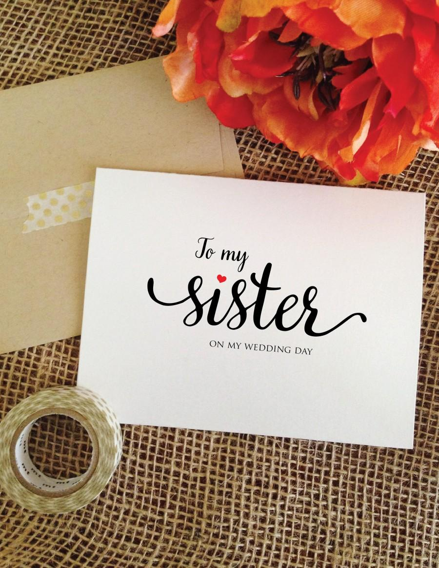 Mariage - My/Her to my sister on my wedding day card sister wedding card for sister to my sister card sister wedding gift for sister wedding day gifts