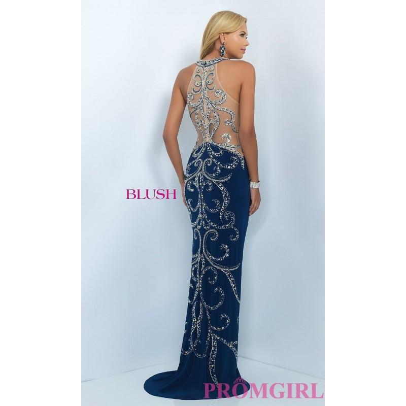 Wedding - Long Cascading Back Navy Beaded Prom Dress by Blush - Brand Prom Dresses