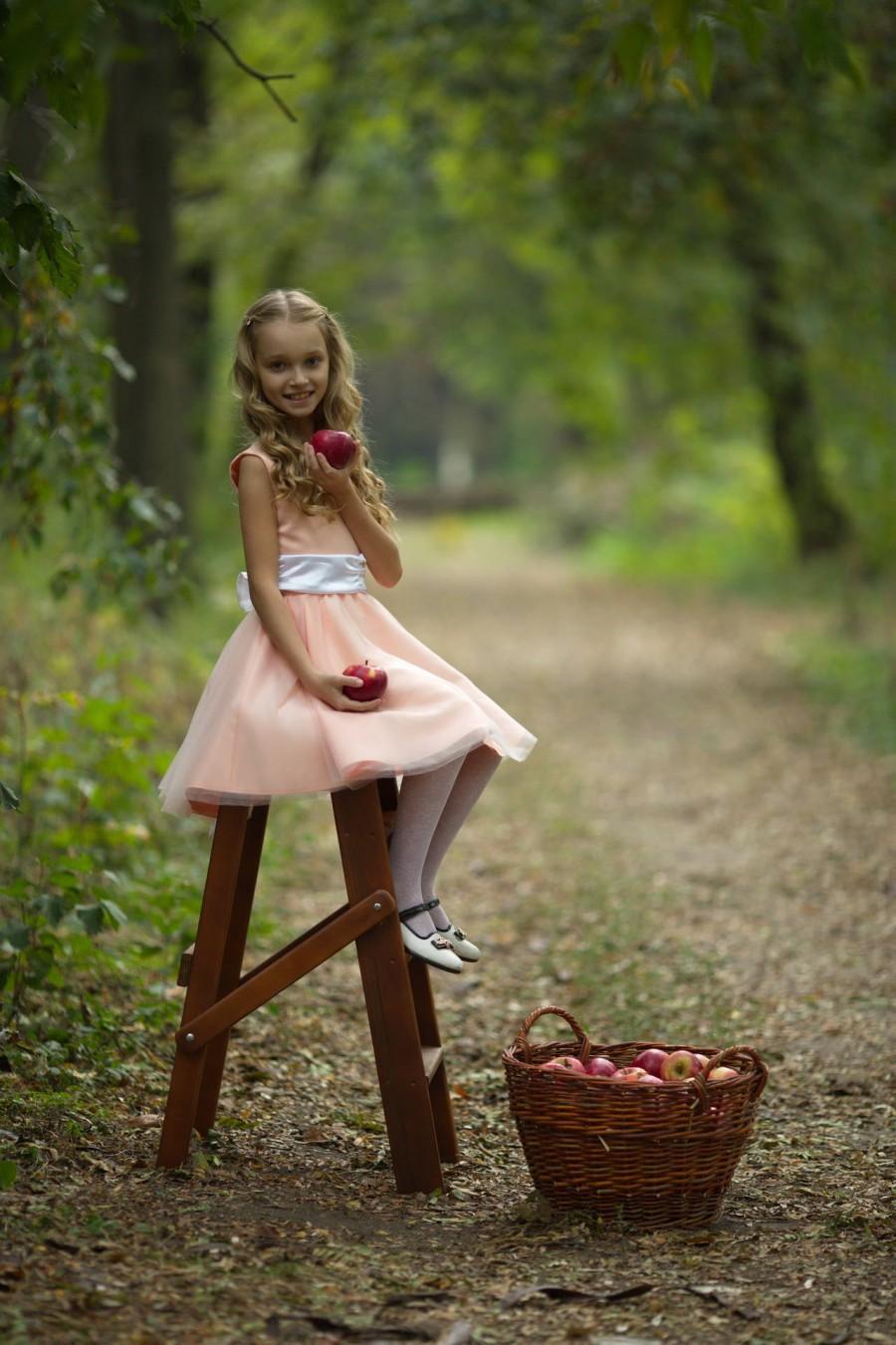 زفاف - Flower girl dress, Peach girl dress, Country flower girl, Country wedding, Baby dress, Birthday girl dress