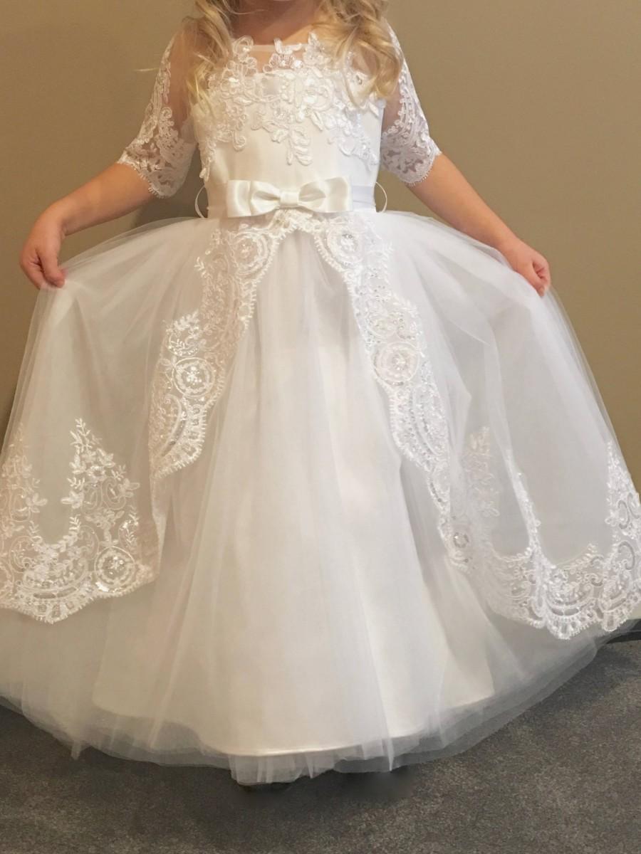 زفاف - Princess Flower Girl Dress, Lace Flower Girl Dresses, Flower Girl Dress, Custom Wedding Dresses, Tutu Skirt Girls Dress, HandMade in USA