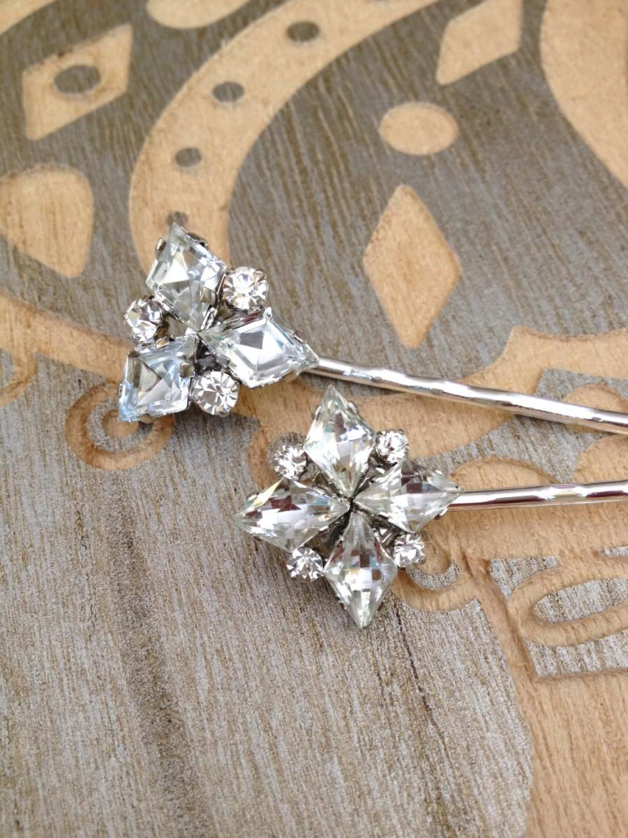 Pair Of Art Deco Rhinestone Hair Pins Set 1920s Weddings Rustic Bridal Jewelry Country Vintage