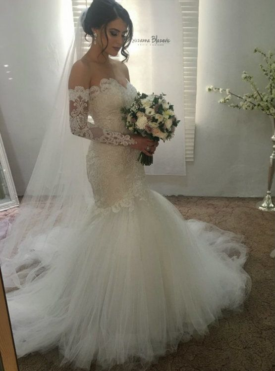 Mariage - Gorgeous Mermaid Wedding Dresses 2017 Sweetheart Neckline Lace Applique