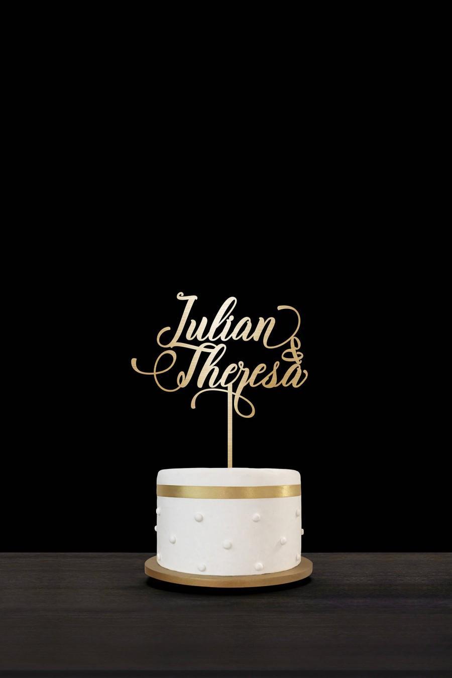 Custom Gold Monogram Cake Topper