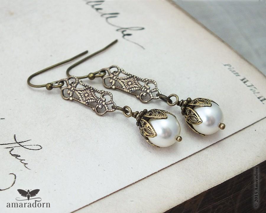Mariage - Edwardian Ivory Pearl Earrings, Pearl Bridal Earrings, 1920's Inspired Earrings, Brass Filigree Earings, Vintage Style Wedding, Handmade UK