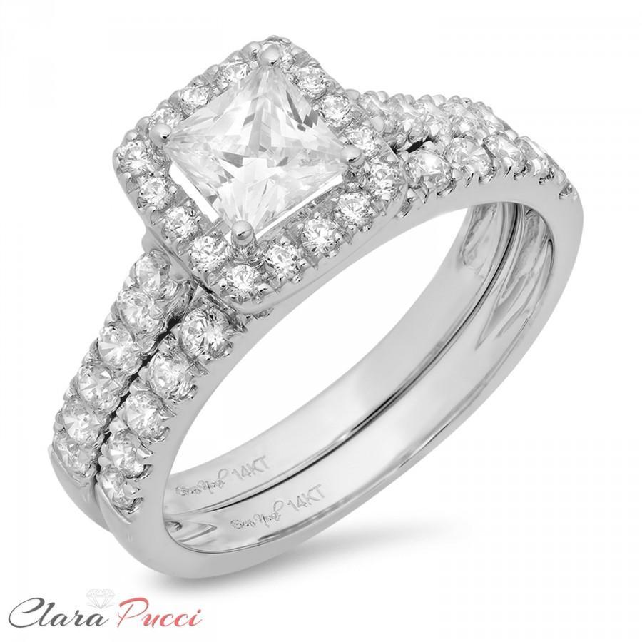 Wedding - White Gold Bridal Ring Set, Bridal Set Band, Round Bridal Ring, 1.70 CT Princess Cut Engagement Bridal Ring Band Set Solid 14k White Gold