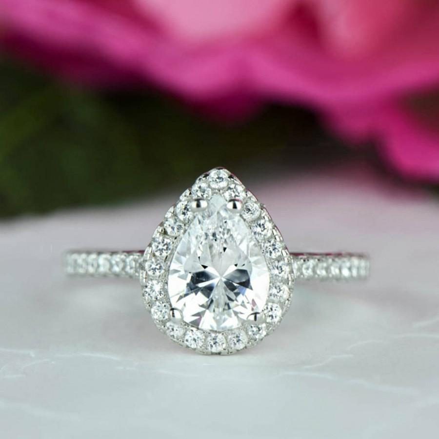 Wedding - 1.5 ctw Pear Halo Engagement Ring, Halo Wedding Ring, Man Made Diamond Simulants, Half Eternity Ring, Commitment Ring, Sterling Silver