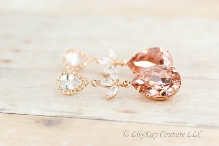 زفاف - Morganite Earrings Rose Gold Morganite Blush Rose Gold Bridal Earrings Bridesmaid Jewelry Blush Bridal Jewelry Dusty Rose Earring Morganite