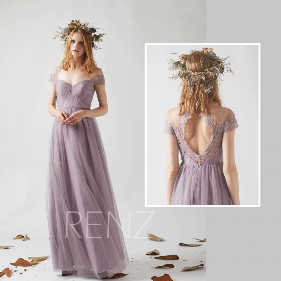 Свадьба - Bridesmaid Dress Dark Mauve Tulle Wedding Dress,Cap Sleeves Prom Dress,Sweetheart Illusion Maxi Dress,Key Hole Back A Line Long Dress(LS337)