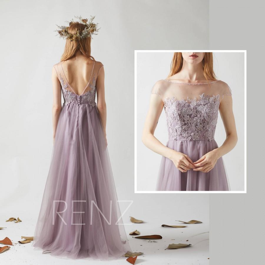 Bridesmaid Dress Dark Mauve Tulle Wedding Dress,Beaded Boat Neck ...