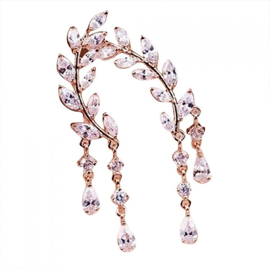 زفاف - Crystal Rhinestone Leaves Tassel Earrings Rose Gold