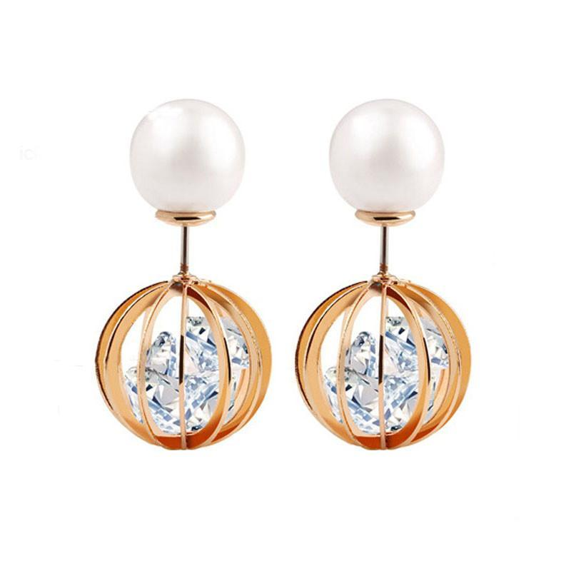 Свадьба - Pearl Rhinestone Round Ball Earrings