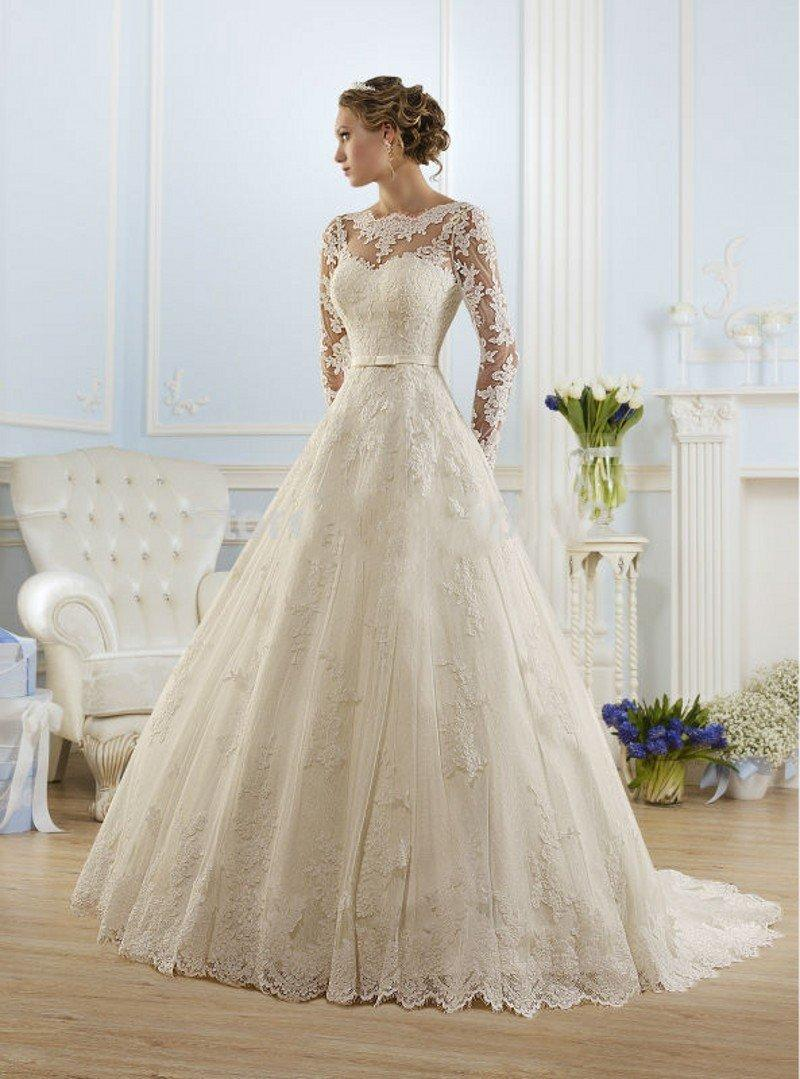 Wedding - 2017 Elegant High Neckline with Long Sleeve Wedding Dress