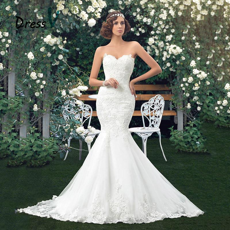 زفاف - Applique Bridal Mermaid Lace Wedding Dress