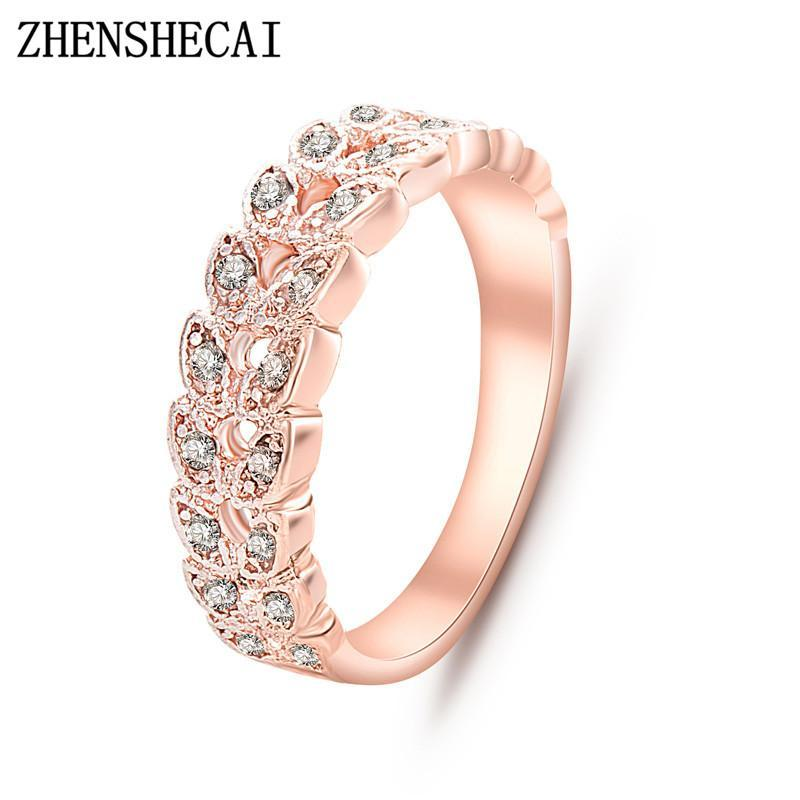 زفاف - Top Quality Gold Concise Classical CZ Crystal Wedding Ring Rose Gold Color Austrian Crystals