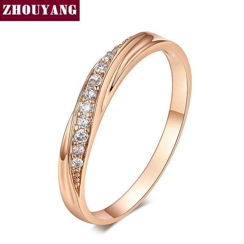 Wedding - Top Quality Simple Cubic Zirconia Lovers Rose Gold Color Wedding Ring