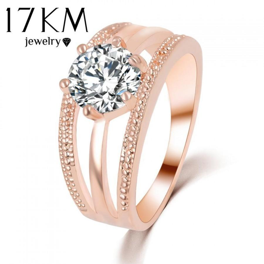 Mariage - Austrian Crystal Ring Rose Gold Color Flower Engagement Ring for Women