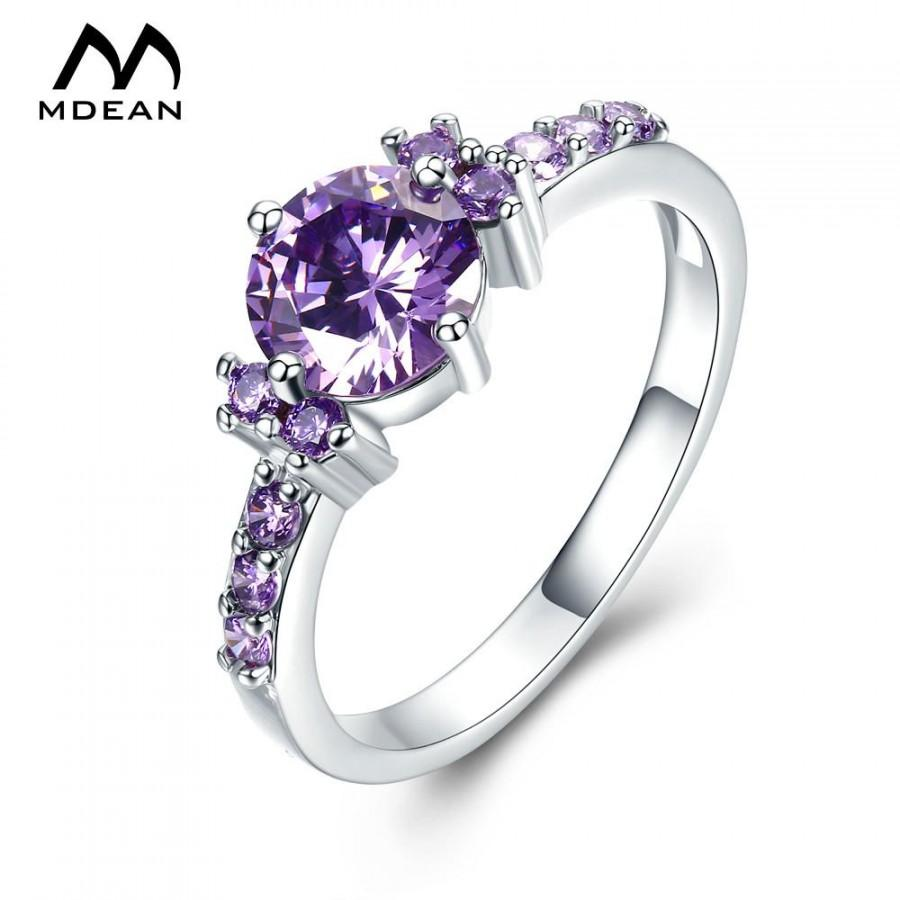 Hochzeit - White Gold Color Engagement Rings For Women Purple AAA Zircon Jewelry