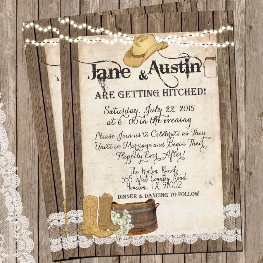 زفاف - Western Rustic and Lace Wedding Invitation, Mason Jar, Lights, Wood Fence, Digital File, Printable, 5x7