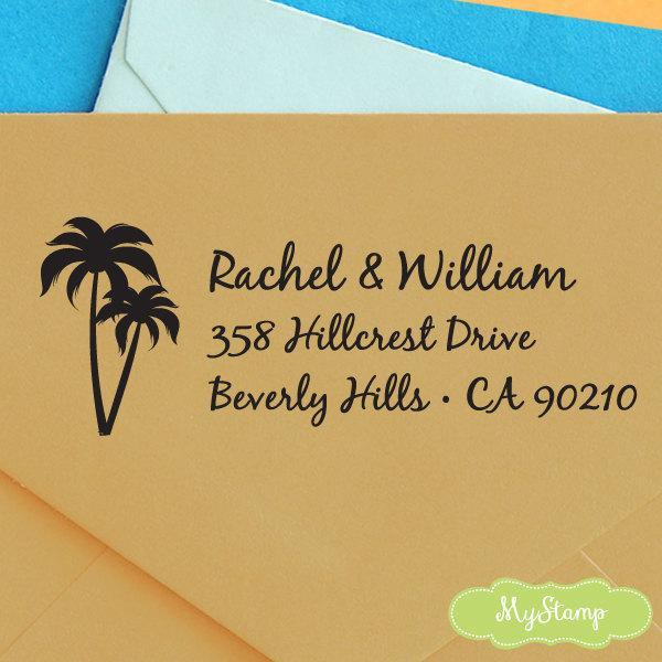 زفاف - CUSTOM pre inked address STAMP with proof from USA, custom address stamp, pre inked address stamp, palm tree address stamper - Stamp c6-31
