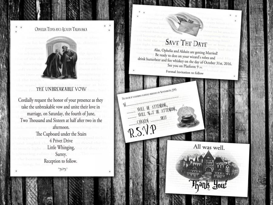 زفاف - Harry Potter Unbreakable Vow Wedding Invitation, Save the Date, RSVP, and Thank You Digital File Kit Hogwarts Printable