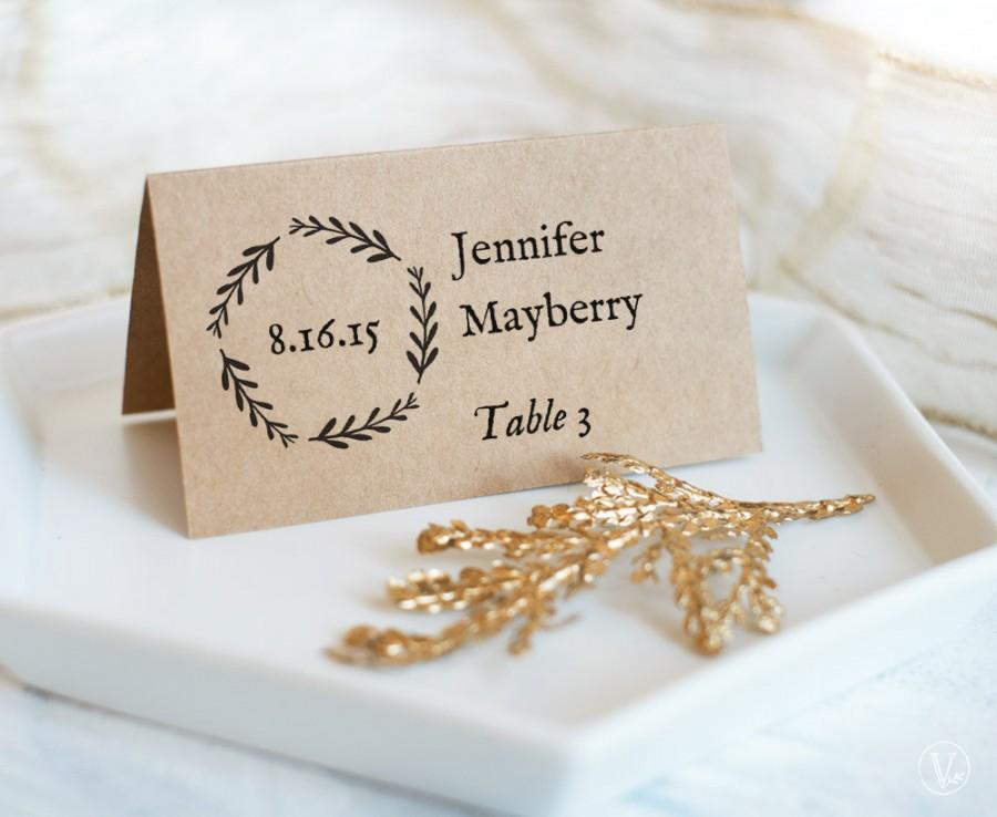 زفاف - Printable Wedding Place Cards and Escort Cards (Foldover and Flat Templates) - IBSTANT DOWNLOAD, Woodland Wreath
