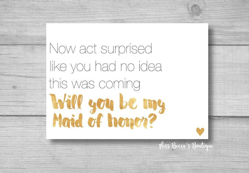 زفاف - Funny Maid of honor proposal, gold wedding, sarcastic bride, will you be my bridesmaid, wedding decorations, gold heart, maid of honor card