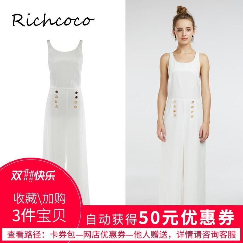 4d1182cdeab Open Back Slimming Sleeveless White Summer Tie Casual Buttons Sleeveless  Top Jumpsuit Long Trouser - Bonny YZOZO Boutique Store