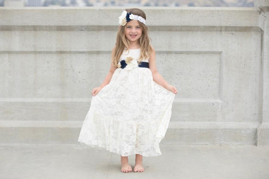 Navy Blue And Ivory Lace Flower Dress Dresses Baby Junior Bridesmaid